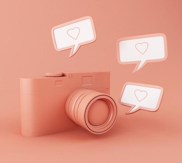 Câmera de foto 3d com pino de coração como Foto Premium