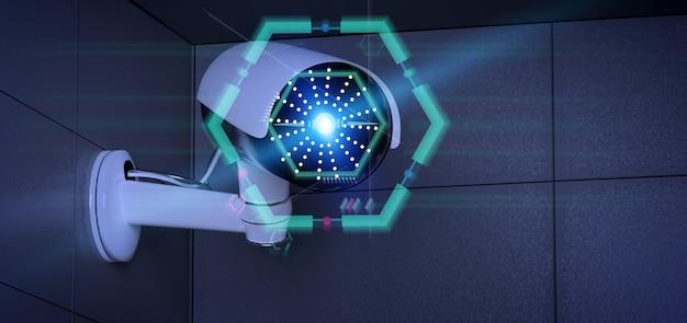 Câmera de segurança visando uma intrusão detectada - renderização em 3d Foto Premium