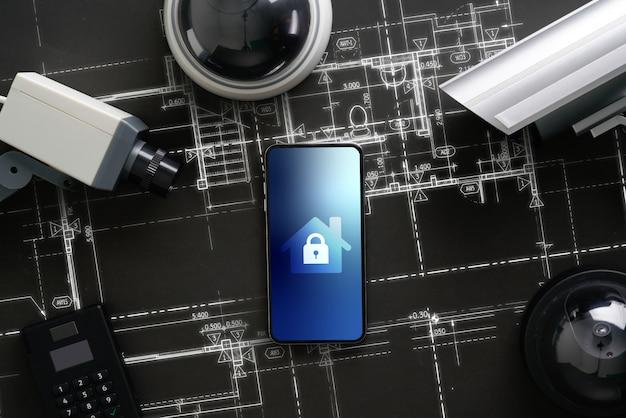 Câmera on-line de segurança cctv com interface de ícone no telefone inteligente Foto Premium