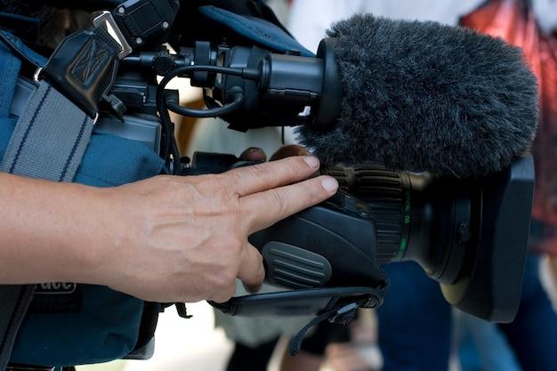 Cameraman em ação Foto Premium