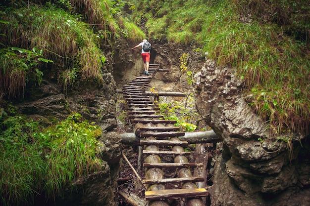 Caminhante caminhando caminho difícil através do canyon Foto Premium