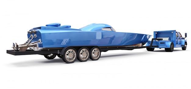 Caminhão azul com um reboque para transportar um barco de corrida em um fundo branco Foto Premium