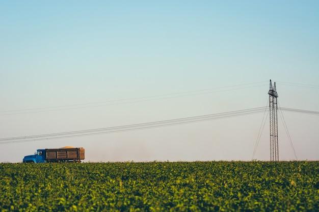 Caminhão está dirigindo através do campo sob fios elétricos. caminhão velho na estrada entre grama perto de pilares com fios elétricos. as linhas de energia passam pelos campos. imagem minimalista com grama verde e céu azul. Foto Premium