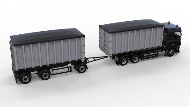 Caminhão preto grande com reboque separado, para transporte de materiais e produtos agrícolas e de construção a granel. renderização 3d. Foto Premium