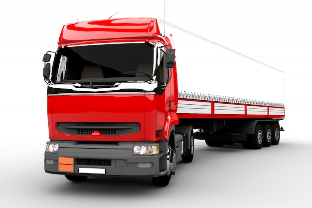 Caminhão vermelho e branco Foto Premium