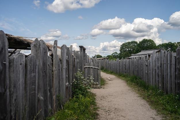 Caminho cercado por cercas de madeira e vegetação sob um céu nublado durante o dia Foto gratuita