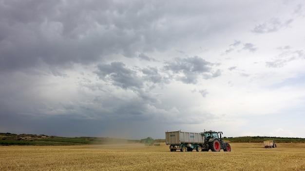 Caminhões no campo em um dia nublado durante a época da colheita Foto gratuita