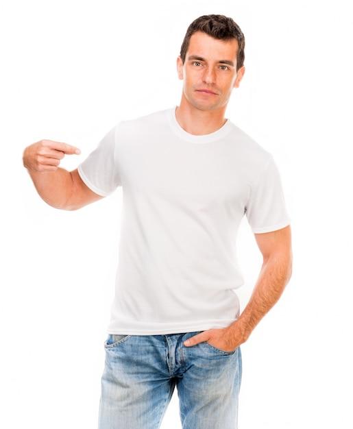 Camiseta branca em um jovem Foto Premium