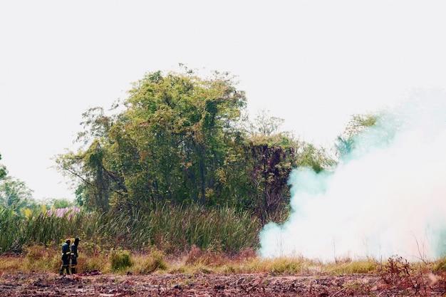 Campo de fumaça e fogo queimando de bombeiro Foto Premium