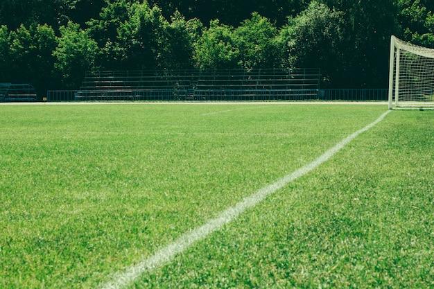 Campo de futebol, gramado verde com uma linha desenhada com tinta branca Foto Premium