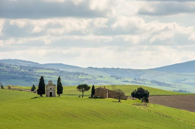 Campo gramado com árvores verdes e uma casa ao longe sob um céu nublado Foto gratuita