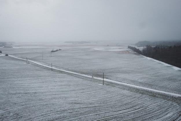 Campo nevado no inverno Foto gratuita