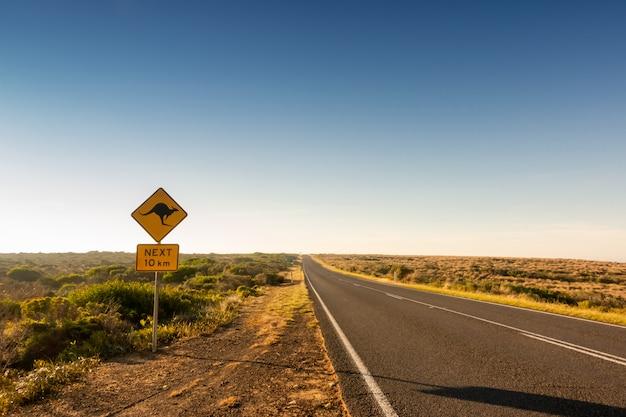 Canguru cruzando sinal de estrada Foto Premium