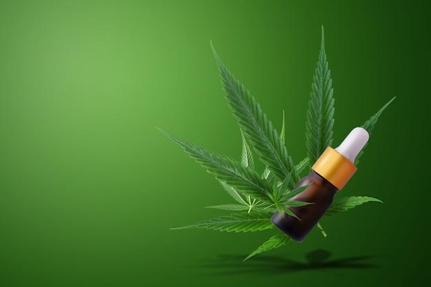 Cannabis medicinal com óleo de extrato em uma garrafa de fórmula cbd thc. Foto Premium