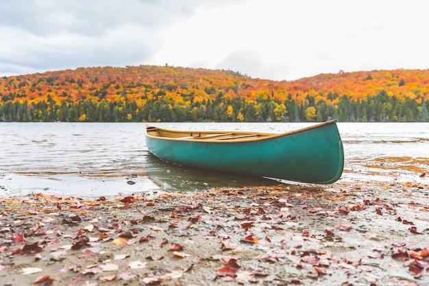 Canoa, ligado, a, costa, de, um, lago, outono, natureza, armando Foto Premium