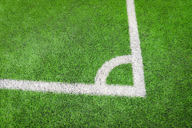 Canto, de, footbal, campo, futsal, ou, campo futebol, ligado, verde, com, linha central, canto, vista superior Foto Premium