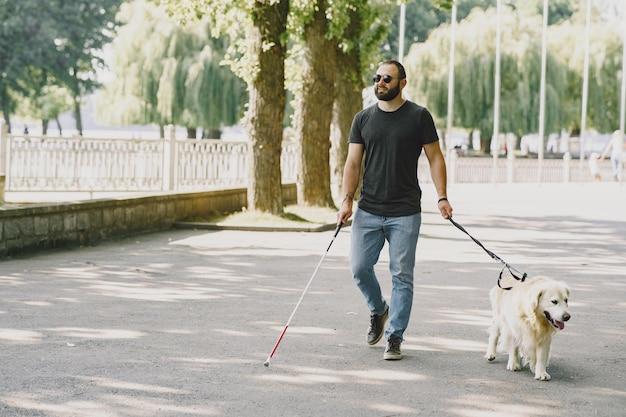 Cão-guia ajudando cegos na cidade. bonitão cego descanse com o golden retriever na cidade. Foto gratuita