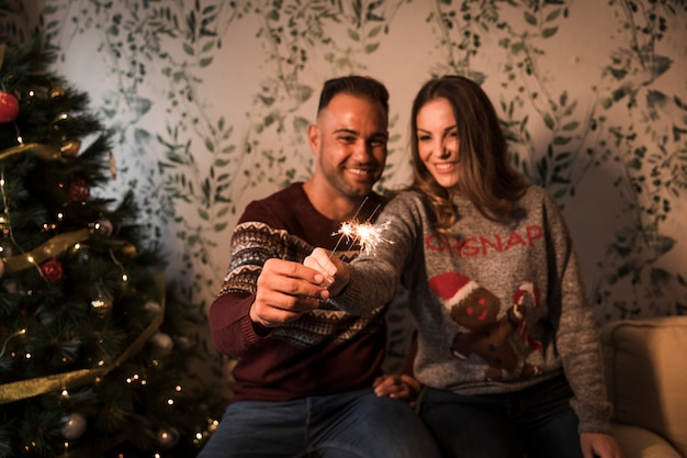 Cara sorridente perto alegre senhora com luzes de bengala perto de árvore de natal Foto gratuita