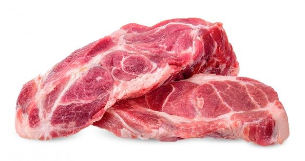 Carne isolada no traçado de recorte branco Foto Premium