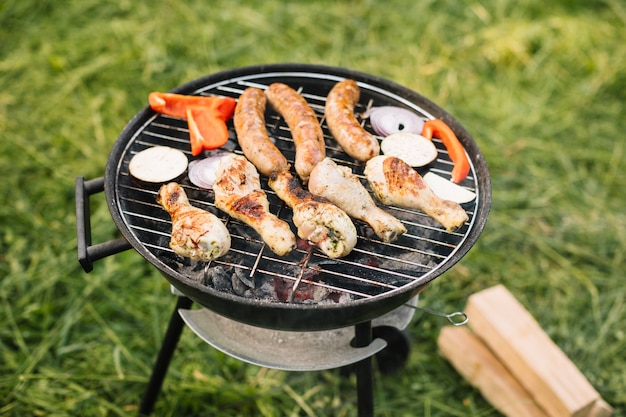 Carne na churrasqueira na natureza Foto gratuita