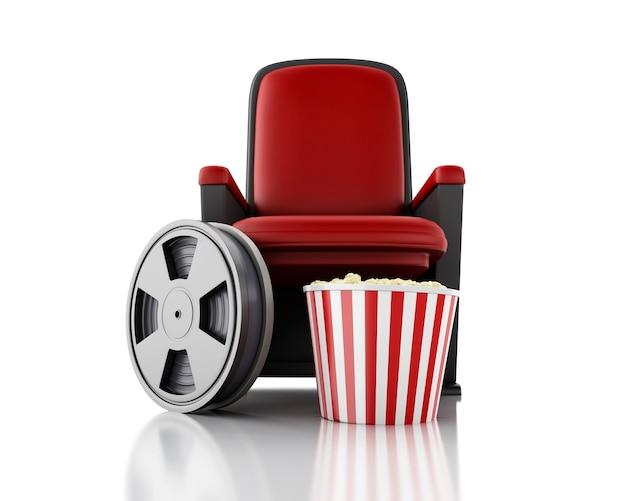Carretel e pipoca de filme 3d no assento do teatro. Foto Premium