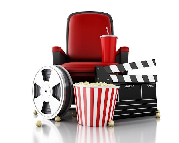 Carretel, pipoca e bebida de filme 3d no assento do teatro. Foto Premium