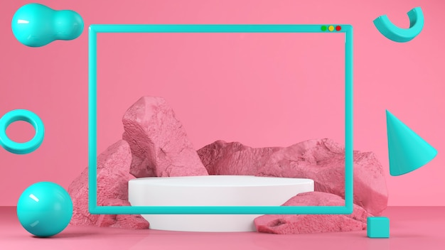 Carrinho de comida pastel rosa em segundo plano. conceito abstrato de geometria mínima Foto Premium