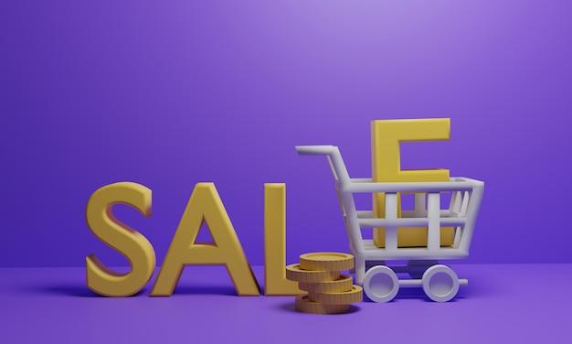 Carrinho de compras carrega moedas e texto de venda Foto Premium