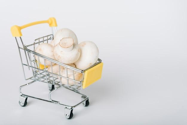Carrinho de compras cheio de cogumelos no fundo branco Foto gratuita