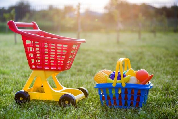 Carrinho De Compras E Uma Cesta Com Frutas E Legumes De Brinquedo Brinquedos Coloridos Plásticos Brilhantes Para Crianças Ao Ar Livre Num Dia Ensolarado De Verão Foto Premium
