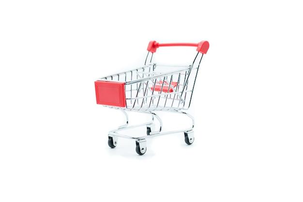 Carrinho de compras vazio carrinho isolado no fundo branco Foto Premium