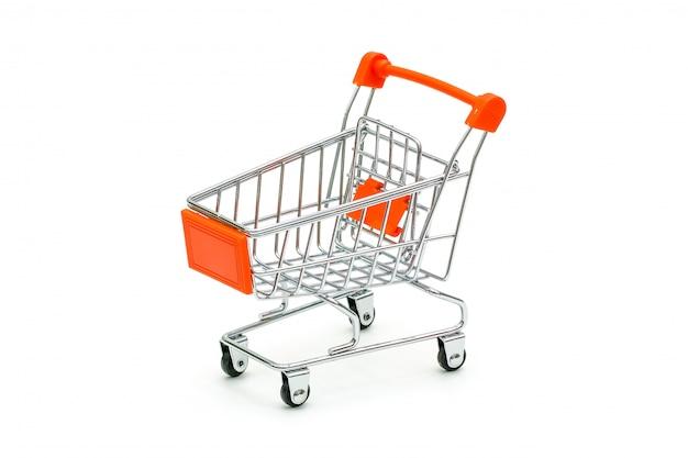 Carrinho de compras vermelho isolado no branco Foto Premium