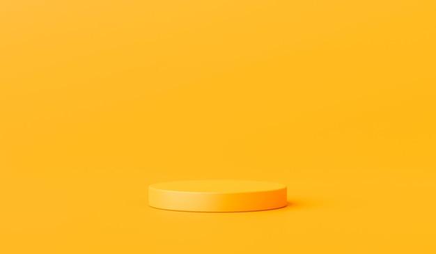 Carrinho de fundo amarelo do produto ou pedestal do pódio no display de publicidade com planos de fundo em branco. renderização 3d. Foto Premium