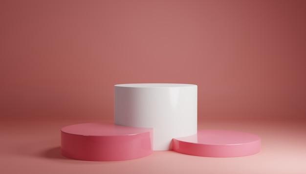 Carrinho de produto pastel rosa branco sobre fundo. conceito abstrato geometria mínima. tema da plataforma do pódio do estúdio. exposição de negócios estágio de apresentação de marketing. ilustração 3d render design gráfico Foto Premium