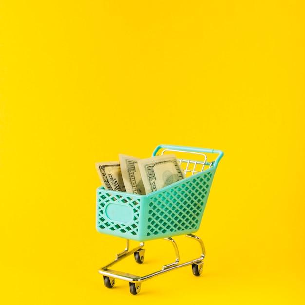 Carrinho de supermercado com dinheiro Foto gratuita
