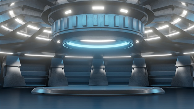 Carrinho vazio futurista para tecnologia de futuro moderno fundo sci-fi Foto Premium