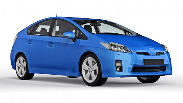 Carro azul híbrido da família moderna em uma superfície branca com uma sombra no chão Foto Premium