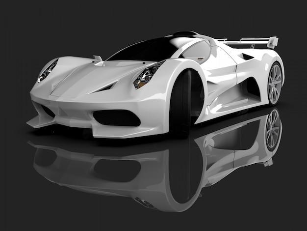 Carro de conceito de corrida branco imagem de carro em cinza brilhante Foto Premium