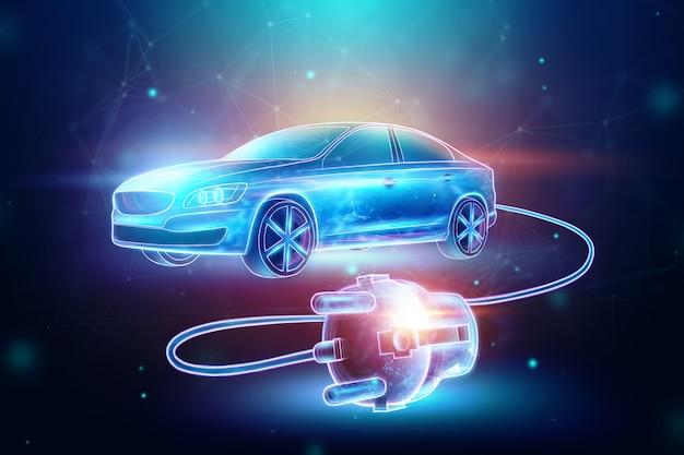 Carro elétrico com fio de carregamento, holograma. Foto Premium