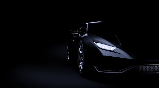 Carro esporte preto sobre fundo escuro 3d render Foto Premium