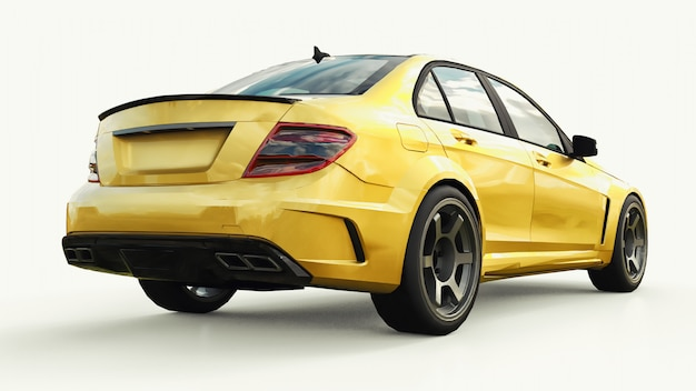 Carro esporte super rápido e dourado Foto Premium