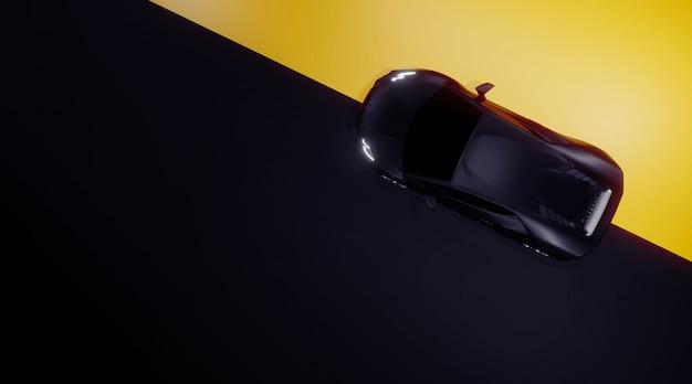 Carro esporte top vista para baixo em preto e amarelo, render 3d Foto Premium