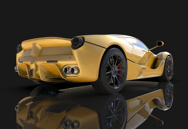 Carro esportivo. a imagem de um carro esportivo amarelo sobre um fundo preto Foto Premium