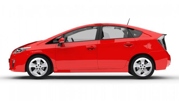 Carro híbrido moderno da família vermelho sobre um fundo branco com uma sombra no chão Foto Premium