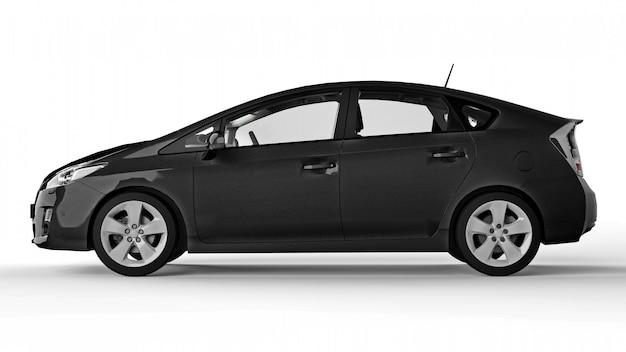 Carro preto híbrido da família moderna em um fundo branco com uma sombra no chão. renderização em 3d. Foto Premium