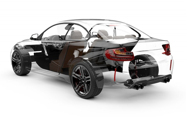 Carro transparente de volta isolado no branco Foto Premium