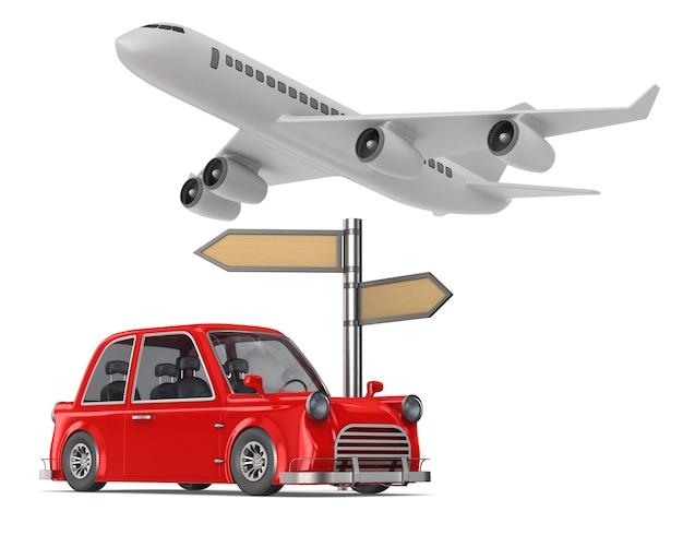 Carro vermelho e avião no espaço em branco Foto Premium
