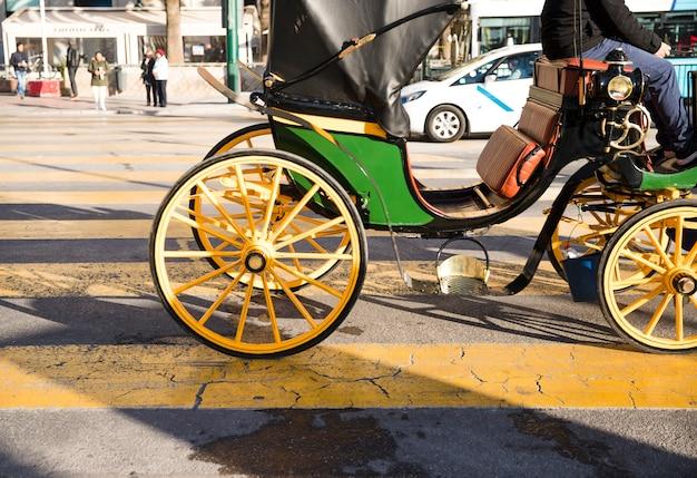 Carruagens de cavalos para serviços turísticos na estrada Foto gratuita