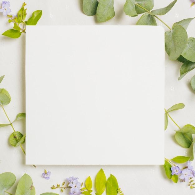 Cartão de casamento quadrado em branco sobre as flores roxas e folhas verdes em pano de fundo branco Foto Premium