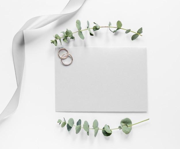 Cartão de casamento vista superior Foto gratuita
